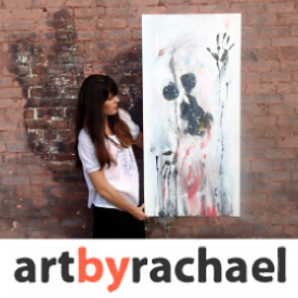 Logo for ArtByRachael with a picture of the artist standing next to one of her paintings